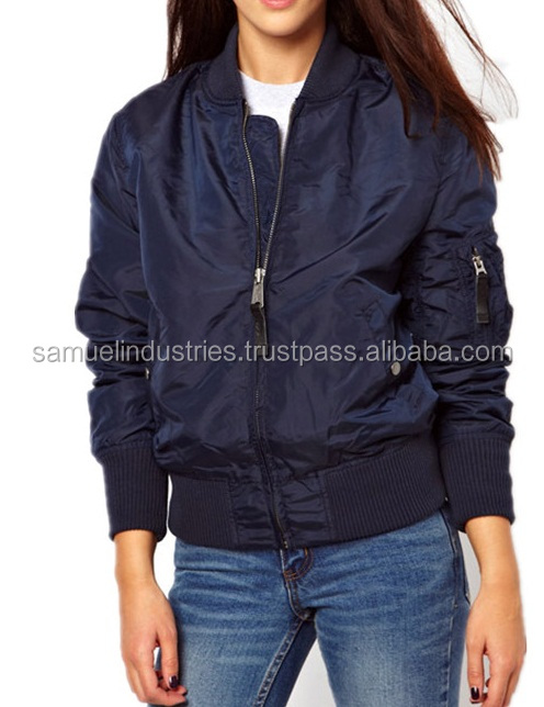 Lady Thin Womens Army Navy Blue Flight Bomber JacketsMa1Military Coats Vintage Urban Girls Zip Up Nylon Bomber Jacket