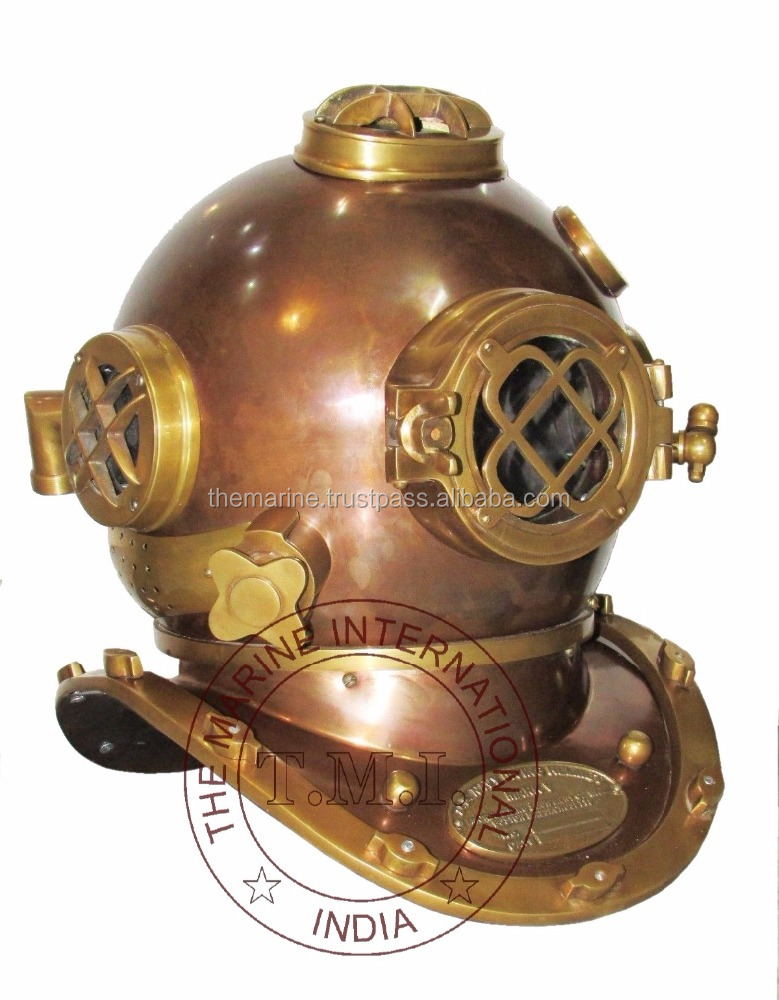 COPPER & BRASS ANTIQUE MARK V DIVING HELMET - COLLECTIBLE MARINE NAUTICAL DIVER'S HELMET - US NAVY