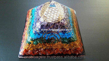 Orgone Big Size Chakra Layer Pyramid With Flower Of Life Metal Symbol : Chakra Orgonite Pyramid