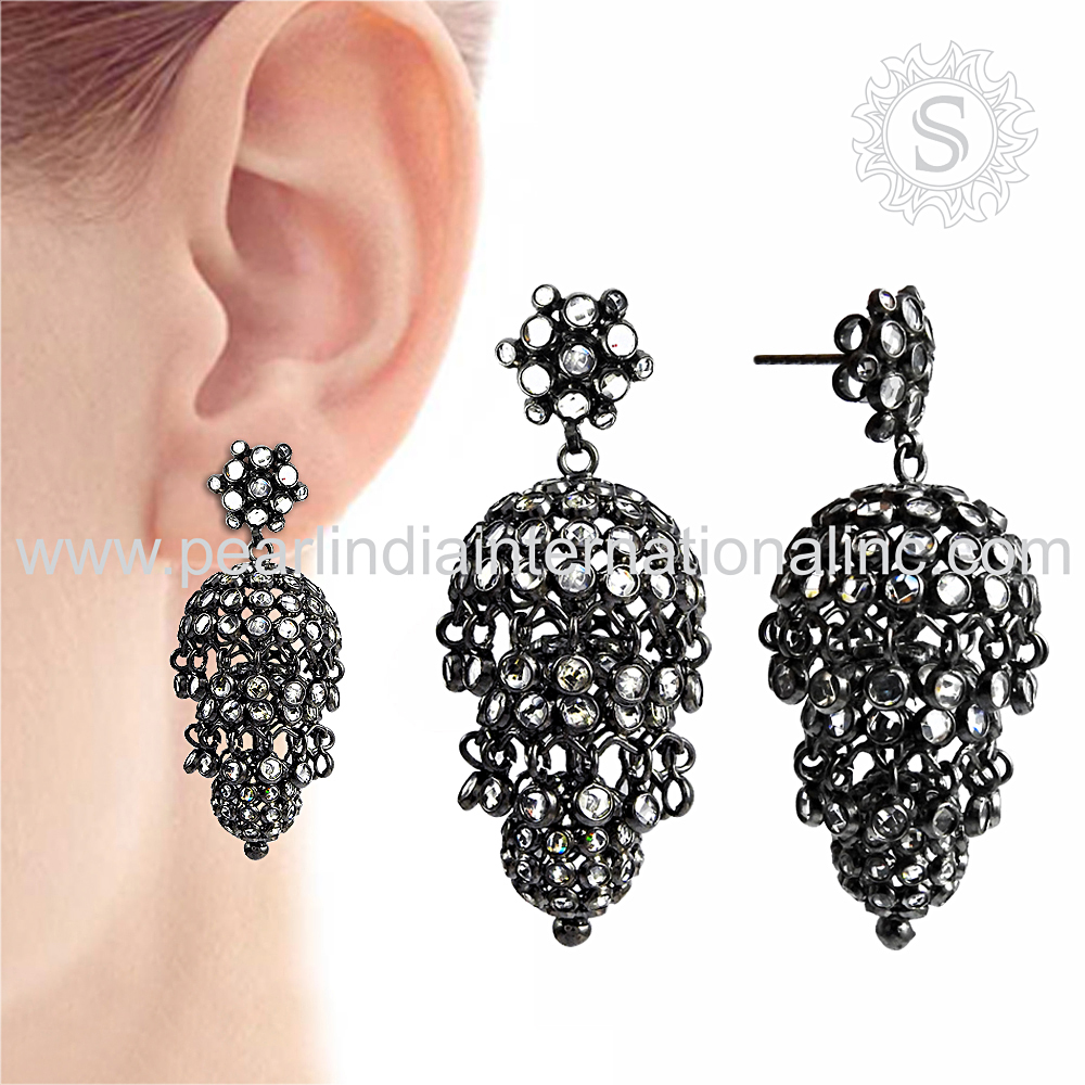 New Design 925 Sterling Silver Jewelry Women's Piercing Jhumka Earring Indian Handmade Silver Jewelry Wholesaler