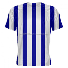 Royal Blue and White Striped Soccer Jersey