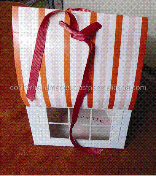 custom printed cake boxes in house theme packaging with display window and string tie for cake packaging