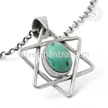 Well Made Handmade Star Pendant With Turquoise Gemstone 925 Sterling Silver Jewelry