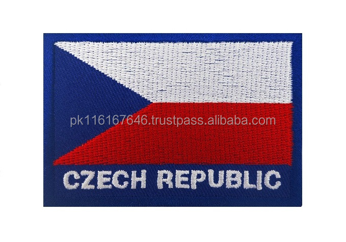 MACHINEREY Czech Republic Flag Patch Iron On / Sew On Badge Embroidered
