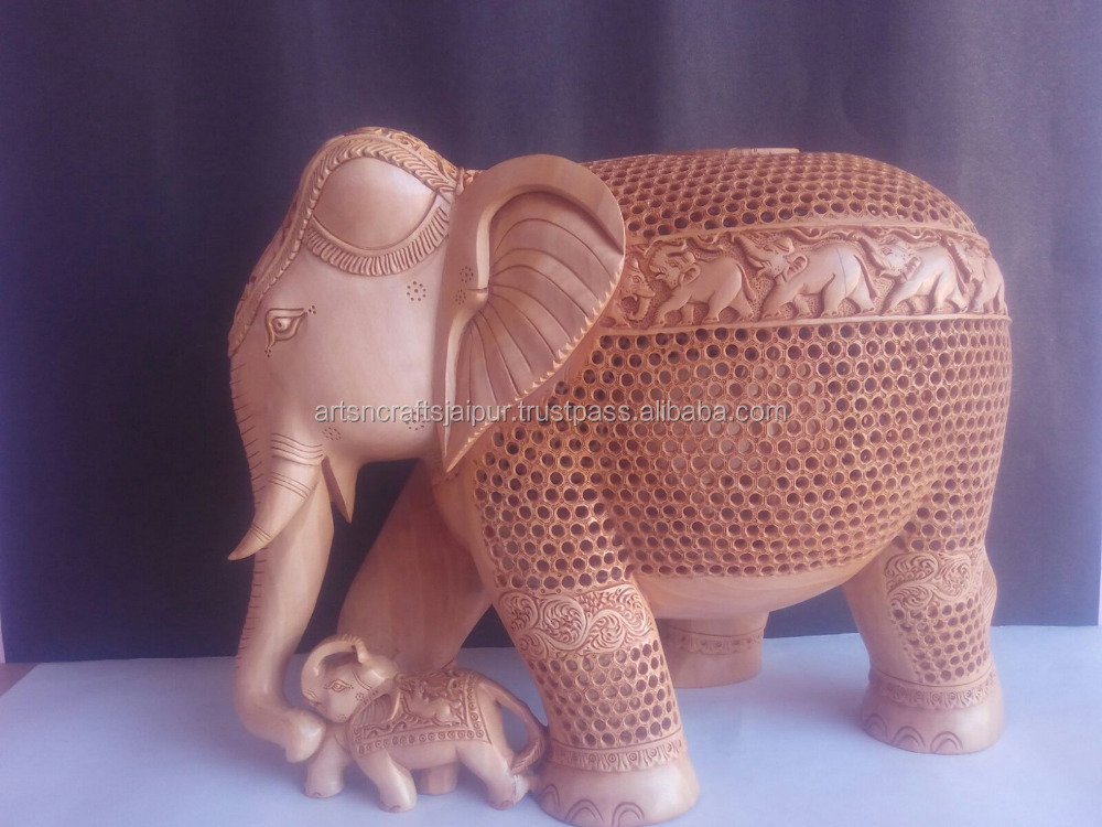 decorative small decorative small wooden craft elephant shaped wooden car toy for kids and Home Decoration