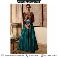 Indian Designer Velvet Lehenga Choli with High Neck Embroidered Jacket