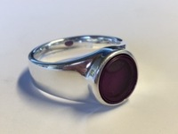 Ring of Sterling silver with spirit level, violet liquid