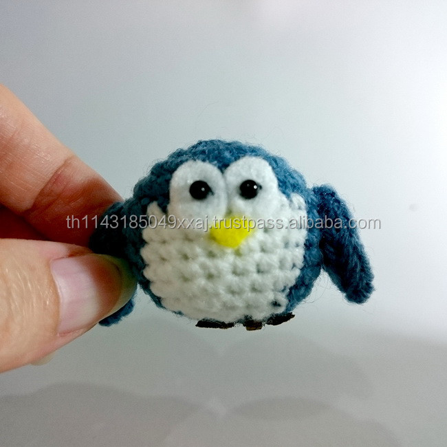 Tiny Circle Chubby crochet Owl Penguin / Amigurumi crochet animals Baby Toy Gift / Collection handmade yarns Finish Product
