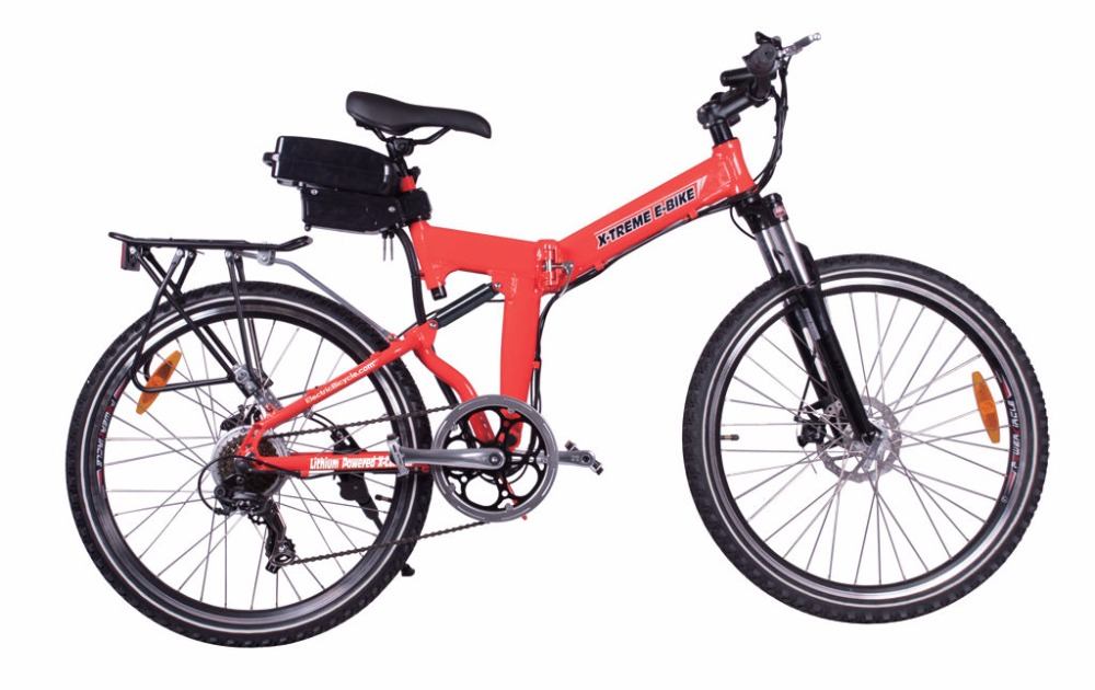 Buy 5 Get 1 Free NEW!! 2015 X-Treme X-Cursion Folding Electric Bike - Lithium Powered - Red