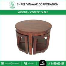 2016 New Wooden Coffee Table with 4 Inserted Stools