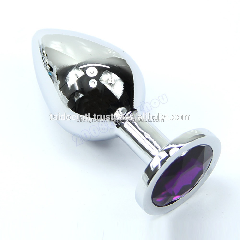 Butt Toy Plug Anal Insert Alloy Chromed Metal Plated Jeweled Sexy Stopper For Men