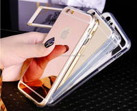 Hot sale Mirror View case Electroplating Chrome Ultrathin Soft TPU Protective Mobile Phone Case Cover For iphone 5 6 6plus