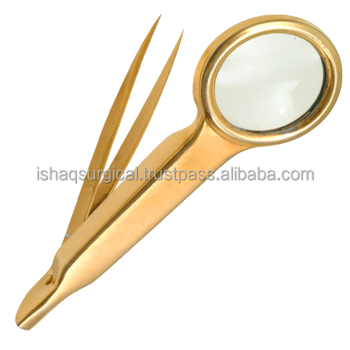 Gold Plated Eyebrow tweezers with magnifier glass IS EBT 021