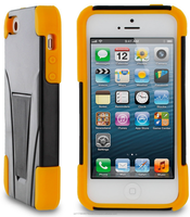 Hybrid protective soft silicone w/ polycarbonate hard shell w/ kickstand, Impact protection for iPhone 5s / 5 roocase (Yellow)