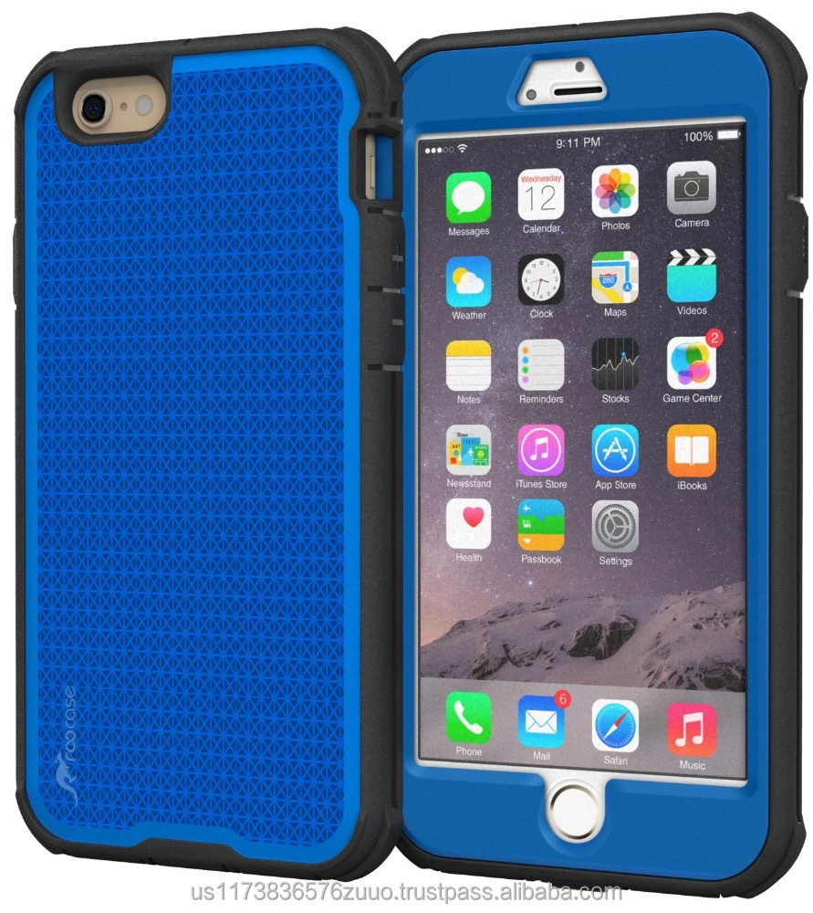 Rugged Armor Full Body Tough hybrid dual layer case for iPhone 6 6s Plus5.5 Drop protection and impact-resistance roocase (blue)