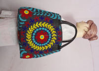 Latest hot selling~Antique Uzbek Suzani Embriodery Shopping Bags with Leather Handle~Directly from factory
