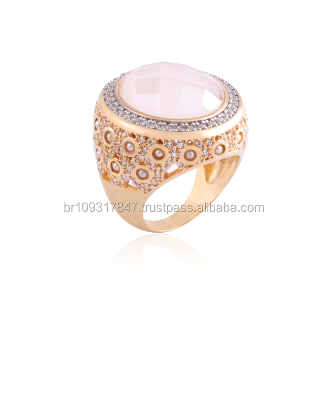 Beautiful ring and earring jewelry from Brazil gold plated