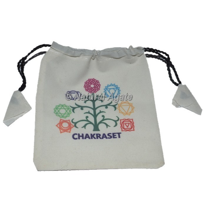 Chakra with Tree Printed Velvet white Pouch