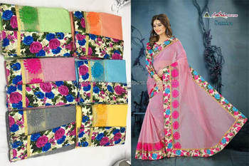 chandery cotton candy border attached embroidery light pink saree