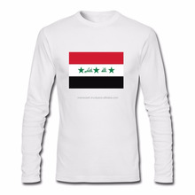 Mens Lomens solid color long sleeve polo t shirt with Iraq flag