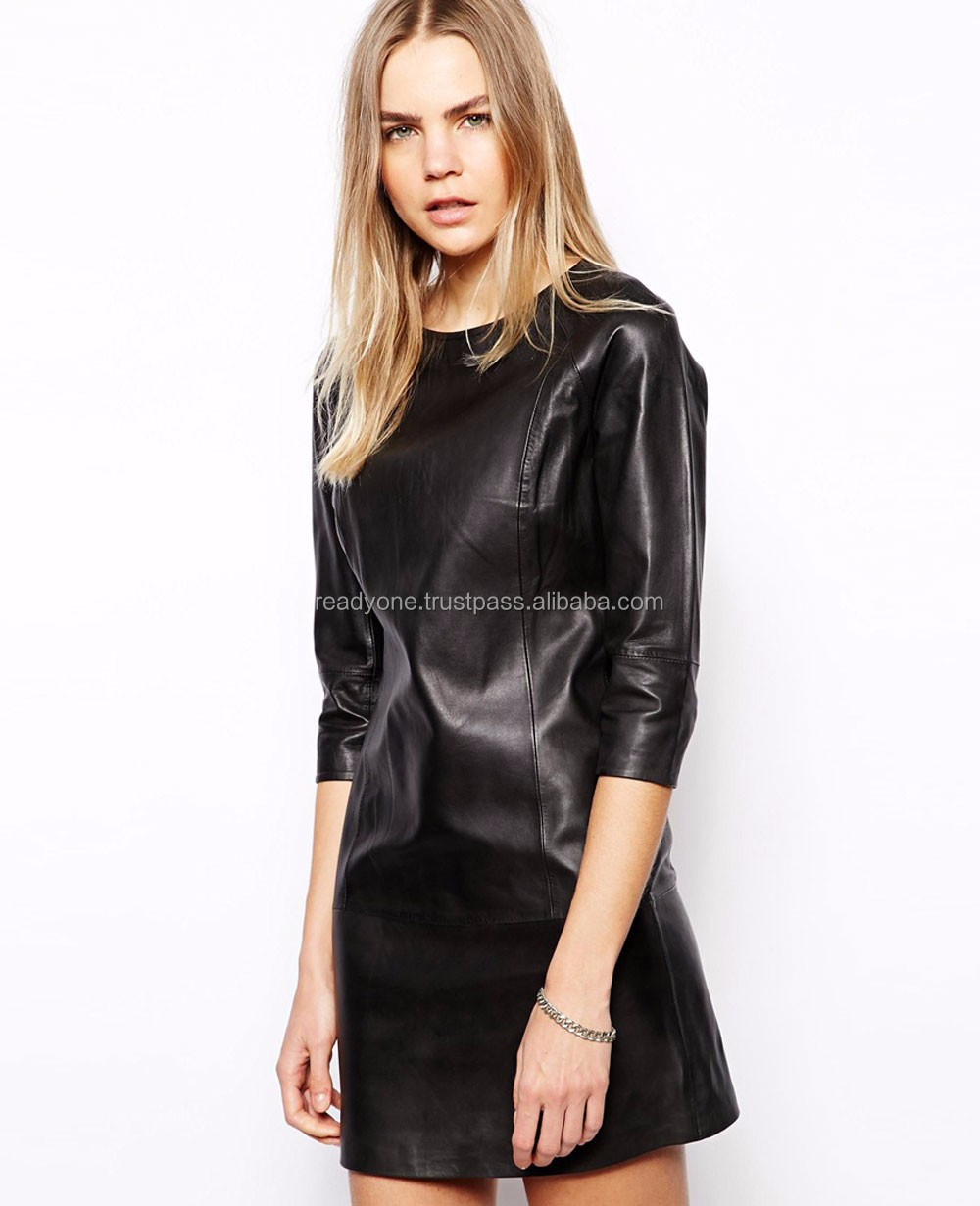 OEM factory wholesale clothing latest dress designs for ladies leather dress