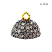 925 Sterling Silver Findings Accessories Gold Pave Diamond Bead Caps