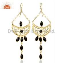 Indian Gold Plated Brass Fashion Earrings Natural Black Onyx Gemstone Earrings Manufacturers of Designs Jewelry Suppliers