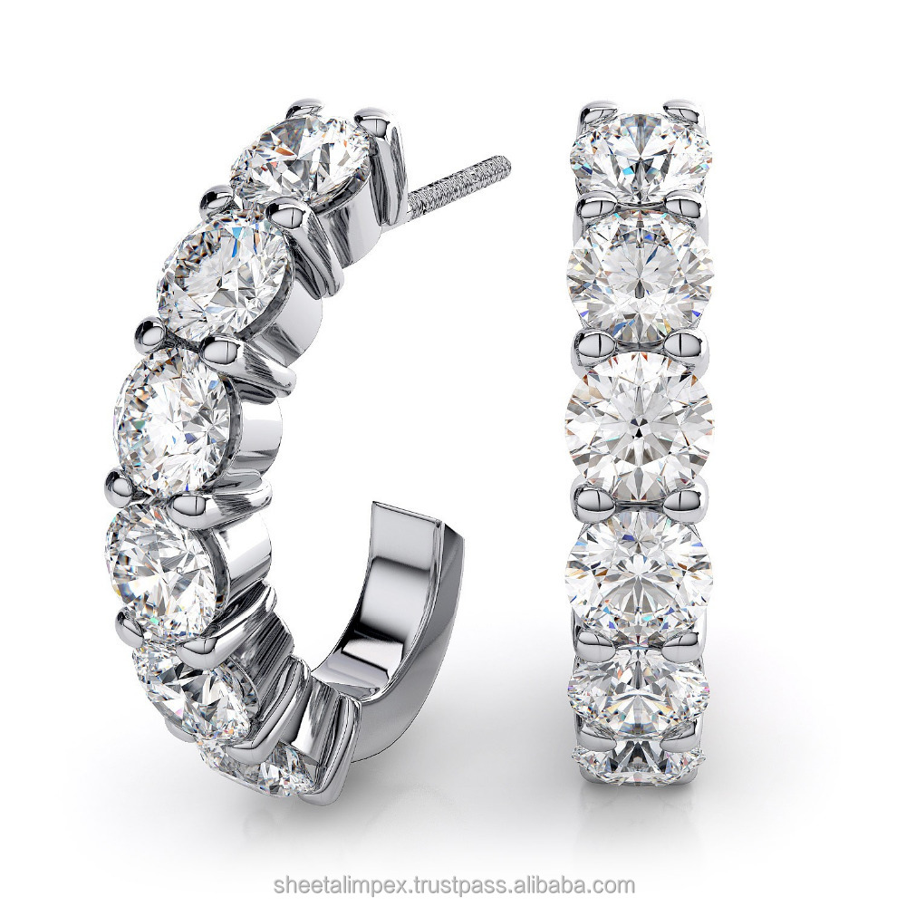 Certified 1.20 Tcw Earth mine Round Cut Real Natural Diamonds 14Kt White Gold Beautiful Stylish Earring at Factory Price