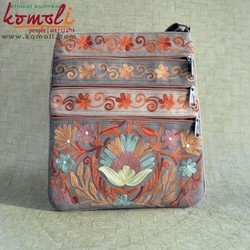 Multi Pocket Floral Design Sling Bag Genuine Split Suede Leather Hand Indian Embroidered Fashion Sling Bag - Brown & Many Colors