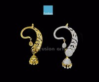 Beautiful Jhumka Style CZ Ear Cuffs By Fusion Arts