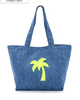 Canvas beach bags, Magnetic top and lined, single-pocket interior.