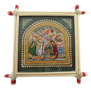 Decorative Lord Krishna & Rukmani Painting Bamboo Framed Hindu Religious Wall Miniature Wall Decor Art India