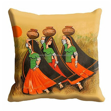 New Custom Indian Traditional Rajasthani Royal Style Painting Digitally Printed 16x16 inch Cushion Cover For Sofa Seat