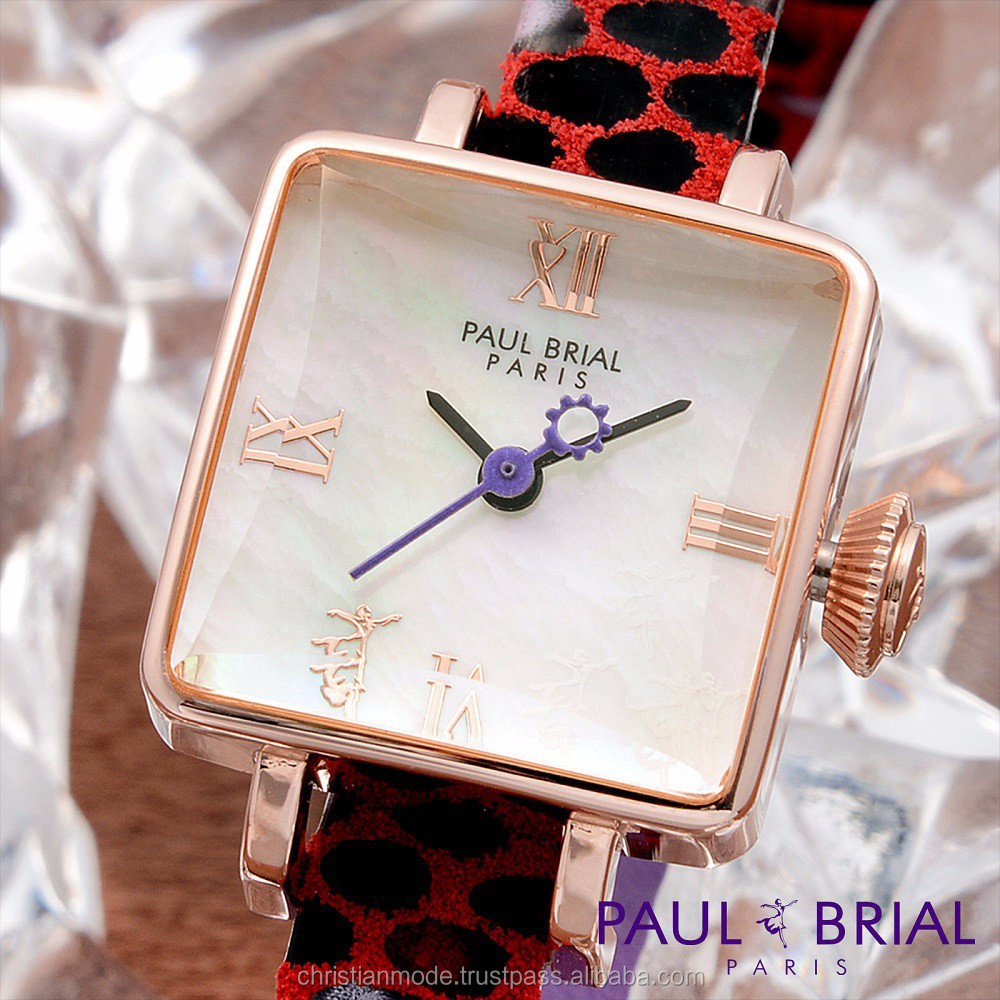 Lady MOP Dial Fashion Square Watches Women Genuine Leather Water Resistant Paul Brial Brand South Korea Made