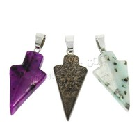 Mixed Gemstone Pendants with brass bail arrowhead platinum color plated 14x31x5mm-17x35x6mm Hole:Approx 4x5mm 100PCs/Bag Sold B