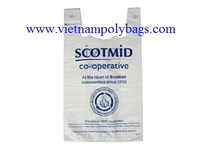 Vietnam re-granulate white film MDPE Plain embossed colored T-shirt carrier shopping bags