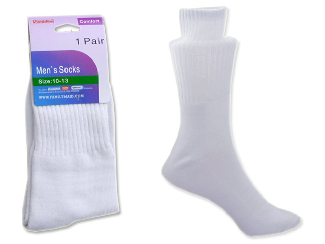 SOCKS 1 PAIR MEN'S WHITE CLR, #99955
