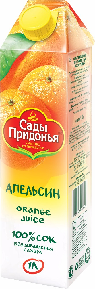"1l ""Sady Pridonia"" juice made of concentrated juice (TGA) tetrapack"