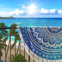 Indian Round Hippie Beach Throw Wall Tapestry Mandala Ombre Yoga Mat Table Cover Beach round blankets
