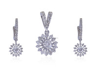 STYLISH 1.15 CTS NATURAL DIAMONDS FINE JEWELERY PENDANT EARRINGS SET IN SOLID HALLMARK 18KT WHITE GOLD AT FACTORY PRICES