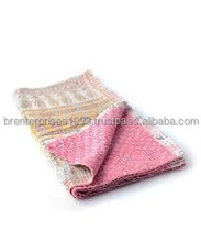 BRBQ- 21 Baby pink Handblock Baby Kantha quilt cover handmade cotton Bed Cover or Blanket Indian bedding bedspread ralli