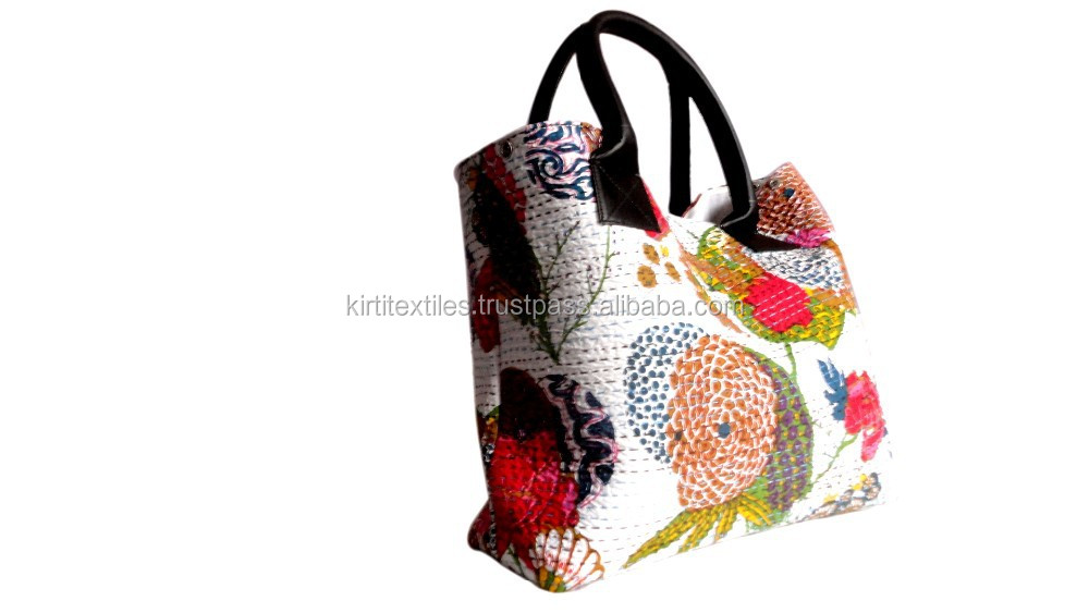 KTHB-33 Makers And Suppliers Indian Old Stylish Sanganeri Printed Cotton Kantha Tote Hand Bags For Women
