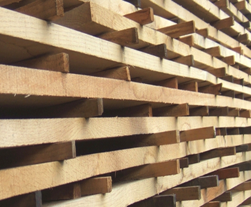 lumber, sawn timber, planks and beams by pine wood