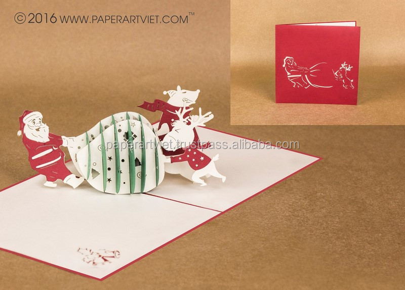 3d pop up card noel and deer bear, merry christmas