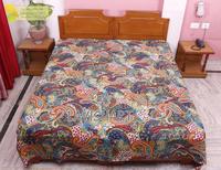 Wholesale Indian Kantha Quilt Floral Patchwork Block Print Bedspread Ethnic Vintage Art