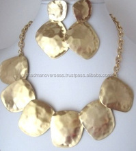 Hammered Brass Metal Necklace For Men and Women N-11779