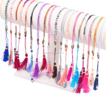Colorful Seed Bead Necklace Long Choker Friendship Gift Silk Tassel Necklace
