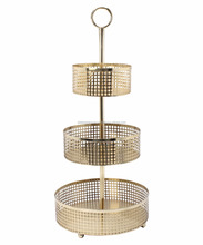 3-Tier Floor Basket Stand,Decorative Three Tier Fruit Storage Basket