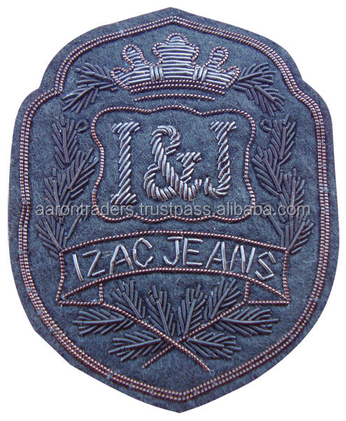 Hand Embroidered Bullion Blazer wire bullion badges I & J