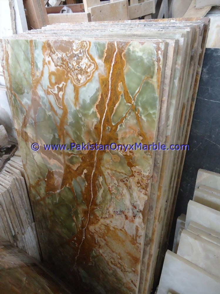 NATURAL STONE MULTI GREEN ONYX TABLE TOPS COLLECTION